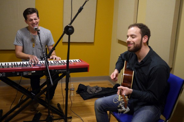 Charlie Puth and Josh Nussbaum rehearsing in the Gold Room